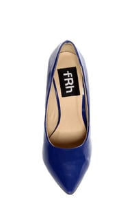 Fahrenheit Zara 02 Blue Patent Pointed Pumps