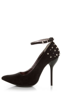 Fahrenheit Zara 06 Black Studded Pointed Pumps