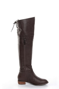 GC Shoes Kim Brown Lace-Up Back OTK Riding Boots at Lulus.com!
