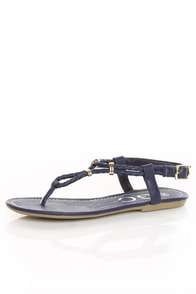 Lovely Navy and Gold Ring Braided Thong Flat Sandals
