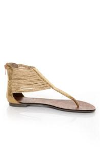 Gomax Berdine 46 Gold Braid Cuffed Thong Sandals 37 00