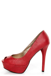 GoMax Eye Catcher 01 Red Snake Peep Toe Platform Pumps