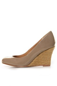 GoMax Jinger 01 Taupe Patent Espadrille Wedges
