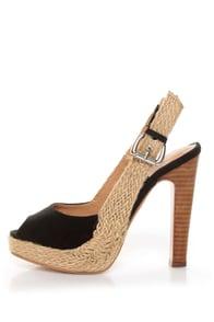 GoMax Lacy 48 Black Espadrille Slingback Peep Toe Heels