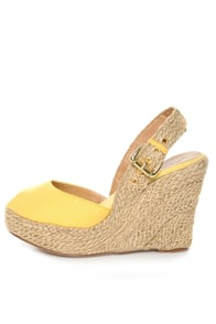 GoMax Moki 08 Yellow Canvas Espadrille Wedge Sandals