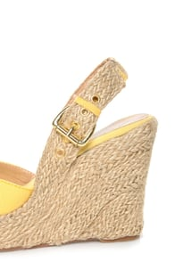 GoMax Moki 08 Yellow Canvas Espadrille Wedge Sandals at Lulus.com!