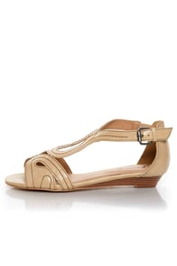 GoMax Page Boy 11 Beige Loopy Cutout Wedge Sandals