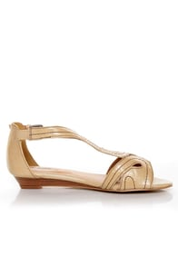 GoMax Page Boy 11 Beige Loopy Cutout Wedge Sandals at Lulus.com!