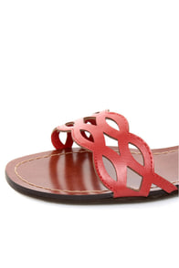 GoMax Sweet Dreams 08 Coral Red Laser Cutout Ankle Cuff Sandals at Lulus.com!
