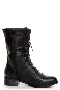 Break 3 Black Brogue Lace-Up Oxford Boots at Lulus.com!