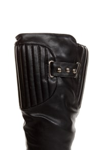 Cowgirl 1 Black Quilted Collar Belted Riding Boots at Lulus.com!