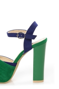 Erika 1 Green and Blue Knotty Peep Toe Platform Sandals