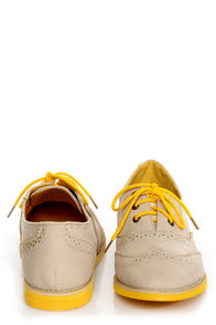 Lisa 1 Beige and Yellow Velvet Brogue Lace-Up Oxford Flats