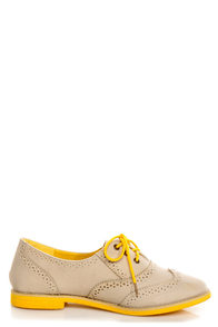 Lisa 1 Beige and Yellow Velvet Brogue Lace-Up Oxford Flats at Lulus.com!