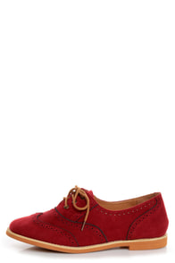 Lisa 1 Red Velvet Brogue Lace-Up Oxford Flats at Lulus.com!