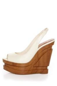 Jessica Simpson Alexy Ivory Slingback Sculpted Platform Wedges