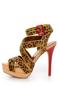 Jessica Simpson Evangela 2 Cheetah Pony Fur Strappy Heels
