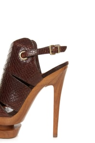 Jessica Simpson Cat Brown Stamped Snake Slingback Platform Heels at Lulus.com!