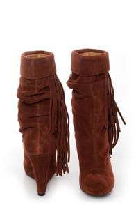 Kelsi Dagger Carousel Nutmeg Suede Fringe Cuffed Wedge Boots at Lulus.com!