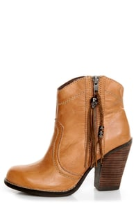 Kelsi Dagger Hanly Cognac Leather High Heel Ankle Boots