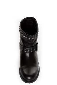 Kelsi Dagger Max Black Leather Studded Ankle Boots at Lulus.com!