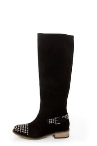 Kelsi Dagger Rover Black Suede Studded Cap-Toe Knee High Boots