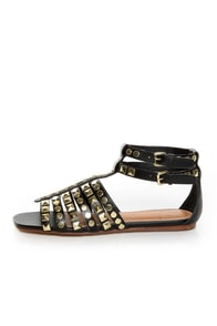 Kelsi Dagger Roxy Black Studded Gladiator Sandals
