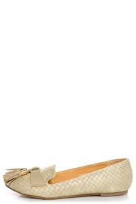Messina 12 Beige Textured Tassel Smoking Slipper Flats at Lulus.com!