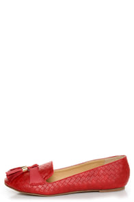 Messina 12 Red Textured Tassel Smoking Slipper Flats