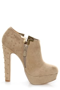 Luichiny I Want It Pebble Taupe Studded Platform Ankle Booties at Lulus.com!