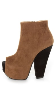 Luichiny Painted Toes Camel Peep Toe Platform Booties