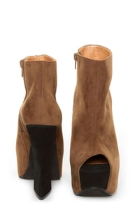Luichiny Painted Toes Camel Peep Toe Platform Booties at Lulus.com!