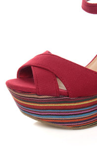 My Delicious Calmia Dark Red Cotton Striped Platform Wedges at Lulus.com!