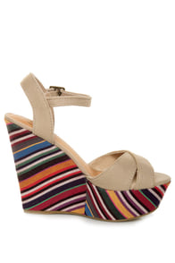 My Delicious Calmia Taupe Cotton Striped Platform Wedges at Lulus.com!