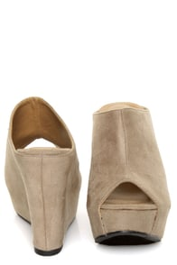 My Delicious Cubic Taupe Peep Toe Mule Wedges at Lulus.com!