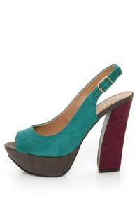 My Delicious Fausta Dark Teal Color Block Slingback Heels