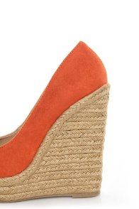 My Delicious Glow Burnt Orange Suede Espadrille Wedges