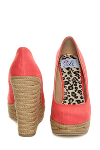My Delicious Glow Coral Linen Espadrille Wedges at Lulus.com!