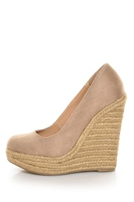 My Delicious Glow Taupe Suede Espadrille Wedges