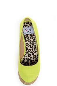 My Delicious Glow Yellow Neon Linen Espadrille Wedges at Lulus.com!