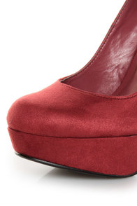 My Delicious Jones Burgundy Suede Platform Pumps at Lulus.com!