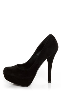 My Delicious Jones Black Suede Platform Pumps