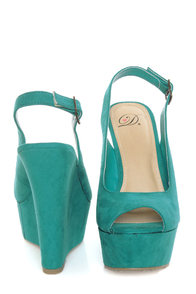 My Delicious Loco Dark Teal Slingback Platform Wedges at Lulus.com!