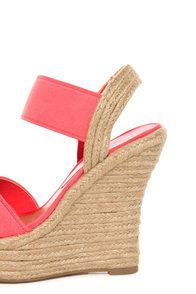 My Delicious Moody Salmon Elastic Espadrille Wedge Sandals at Lulus.com!