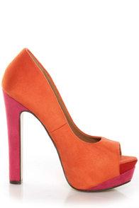 My Delicious Rainer Coral Multi Color Block Platform Heels