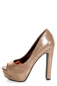 My Delicious Rainer Bronze Shimmer Peep Toe Platform Pumps