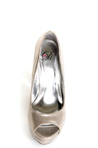 My Delicious Rainer Silver Shimmer Peep Toe Platform Pumps at Lulus.com!