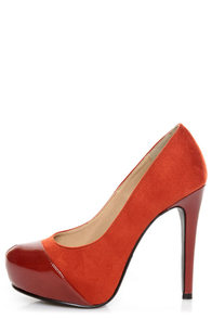 My Delicious Seal Cinnamon Rust Two Tone Cap-Toe Platform Pumps at Lulus.com!
