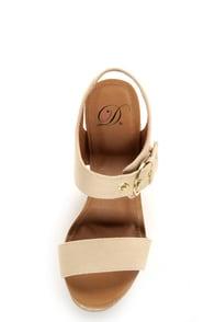 My Delicious Walro Beige Cotton Platform Wedge Sandals at Lulus.com!