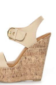 My Delicious Walro Beige Cotton Platform Wedge Sandals at Lulus.com!